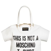 Women's Moschino 'T-Shirt' Leather Tote - White