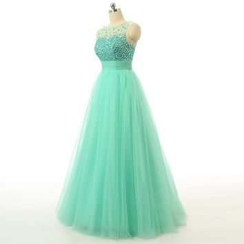 Fashion Tulle Beading Scoop Neck Prom Dresses Sleeveless Backless Long Floor Length Party Dress