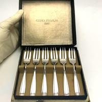 Vintage Gero Zilvium Cocktail Forks, Boxed Set of 6 Small Forks, Holland, circa 1940s-1950s