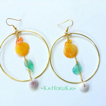 Large Hoop Shell Sea Glass Dangle Earring, Puka shell earring, Beach glass earring