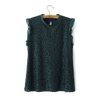 WT10 New Fashion Ladies' elegant sweet lace spliced back knitted blouses ruffles sleeveless shirts casual slim brand tops