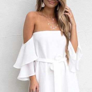 All Over You White Off The Shoulder Dress