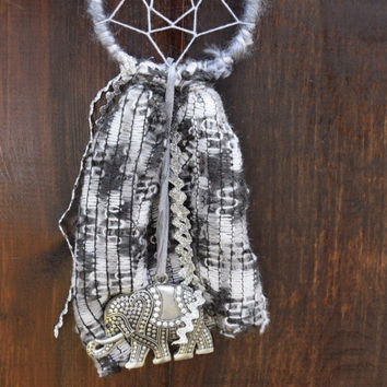 Grey Dream Catcher with Elephant Pendant // Gift for Her // Car Dream Catcher // Car Accessory