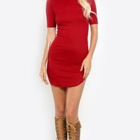 Ribbed Short Sleeve T Shirt Dress