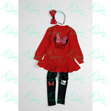 Girls clothing sets baby girl cartoon minnie print long section t-shirt and leggings 2pcs suit