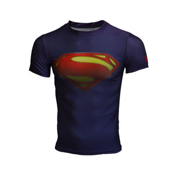 2015 new hot man short Superman T-shirt fitness apparel = 1946020676