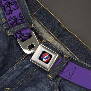 Grateful Dead Men's  Text With Skull & Roses Purple Seatbelt Buckle Belt