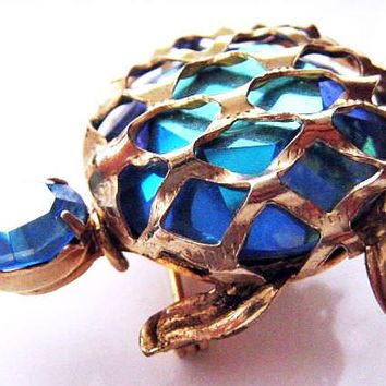 "Blue Glass Turtle Brooch SIGNED WARNER Rhinestones Gold Metal 2"" Vintage"