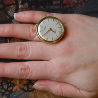 Brilliant Hand Wind Watch Ring Made By Curiosity Shopper Crew - Vintage Swiss Movement and German Casing