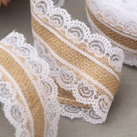 10m Natural Jute Burlap Hessian Lace Ribbon Roll + White Lace Vintage Wedding Decoration Party Christmas Crafts Decorative