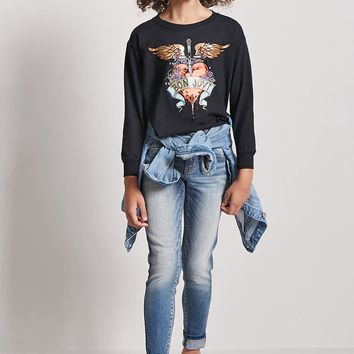 Girls French Terry Bon Jovi Graphic Top (Kids)