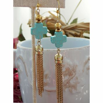 Turquoise Cross and Long Gold Chain Tassel Earrings