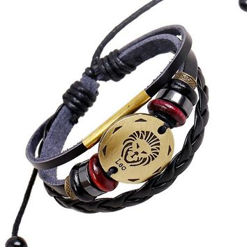 12 Signs of the Zodiac Handmade Braided Punk Leather Bracelet