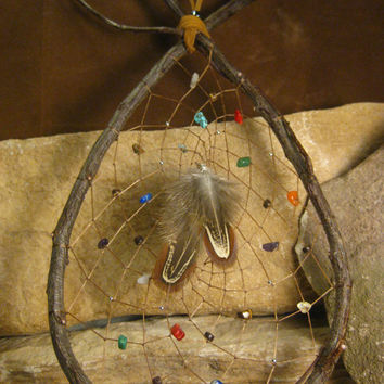 Native American Natural Wood Teardrop Dream Catcher with Gemstones Handmade Native Woven from the Hidden Meadow
