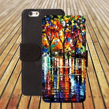 iphone 5 5s case watercolor Oil Painting tree iphone 4/4s iPhone 6 6 Plus iphone 5C Wallet Case,iPhone 5 Case,Cover,Cases colorful pattern L236
