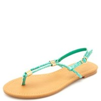 Gold-Printed T-Strap Thong Sandals by Charlotte Russe - Mint