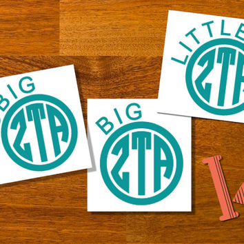 Big Little Gbig Greek Letters Monogram Decal Sticker  - Circle Monogram - Sorority Decal - Custom Greek Letters - Big and Little gift - 3 in