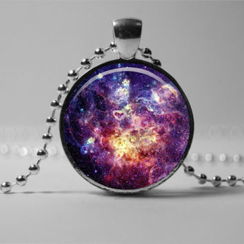 Charm nebula pendant: nebula necklace, nebula jewelry, star universe galaxy necklace.