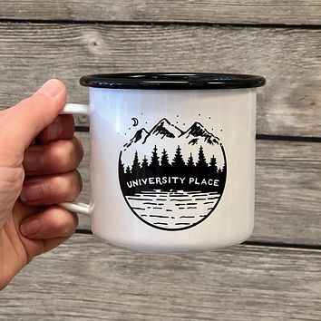 University Place Enamel Mug