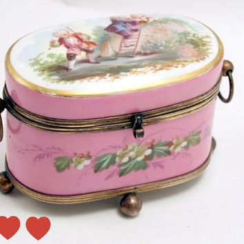 Paris Porcelain 1870's  French Oval Jewelry Casket Box with Bronze Mounts.