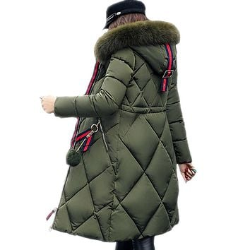 Quilted Jackets: Knee Length Quilted Fur Parka Jackets