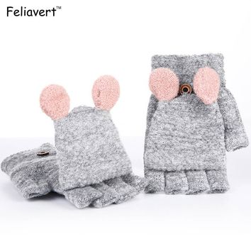 Feliavert Lady Gloves Winter Women Knitted Cashmere Mitten Warmer Fingerless Clamshell Gloves Gants Cute Student Dedos Mujer New
