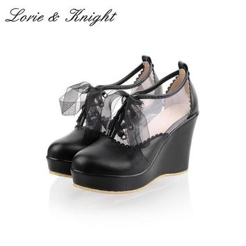 Japanese Harajuku Sweet Lolita Wedge High Heel PU Leather Shoes Princess Girl Spring Autumn Shoes