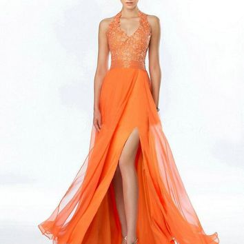 2017 Orange Bridesmaid Dresses with Slit Halter Beaded Appliques Long Dresses Party Ruched Chiffon Wedding Party Dresses 2016