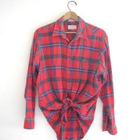 Vintage Red Campus boyfriend flannel / Grunge Shirt / size  L