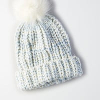 AEO Faux Fur Pom Beanie , Light Blue