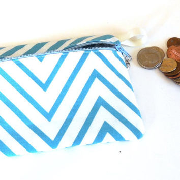 Make up bag, Teal and White Chevron purse organizer, Teal card holder, Beauty supply organizer,Cosmetic storage pouch, Coin Purse