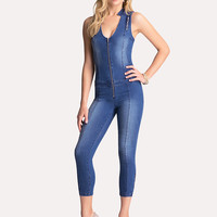 bebe Womens Logo Zip Capri Jumpsuit Rhapsody Wash