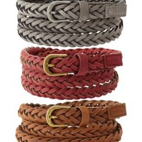 Gray Combo Braided Skinny Belts - 3 Pack by Charlotte Russe