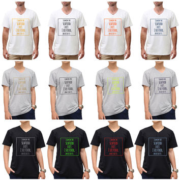 """Fun Quote""""I am on the sea food diet"""" Vynil Print Color Round Neck T-shirt MTS_01"""