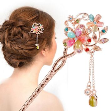 Retro Vintage Bridal Wedding Party Gifts Hairpins Elegant Women Colorful hair clip Rhinestone Butterfly Hair Sticks