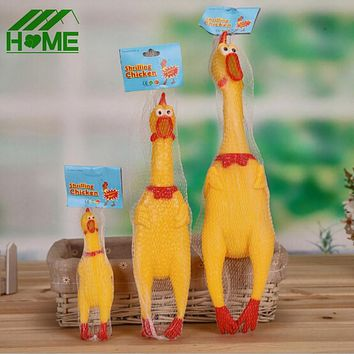 Yellow Plastic Shrilling Chicken Pet Dog Toys 17CM 31CM 41CM Squeeze Squeak Squeaker Chew Screaming Pets Toy Gift