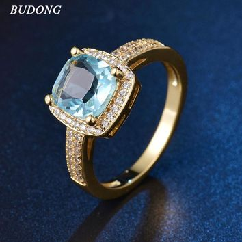2017 BUDONG Fashion Ladies Finger Band Gold-Color Ring for Women Princess Light Blue Crystal Zircon Engagement Jewelry XUR347