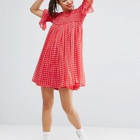 ASOS Gingham Smock Dress with Shirring Detail at asos.com