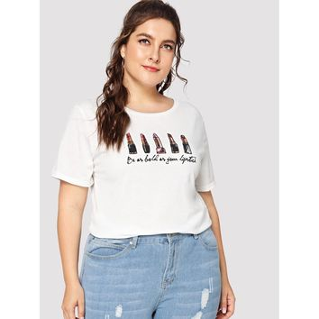 Plus Size White Lipstick And Letter Print Tee