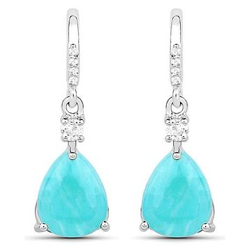 3.78CT Genuine Amazonite and White Topaz .925 Sterling Silver Earrings