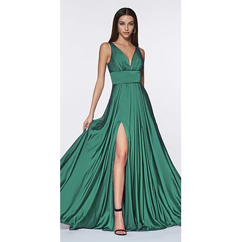Cinderella Divine 7469 Sexy Long Prom Dress Moss Green Evening Satin Gown