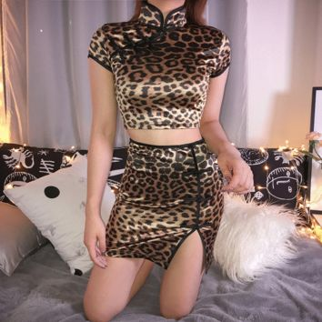 European and American leopard pattern Chinese style half-length skirt women's short skirt fashion open-ended tall waist sexy hip-wrapped skirt summer trend