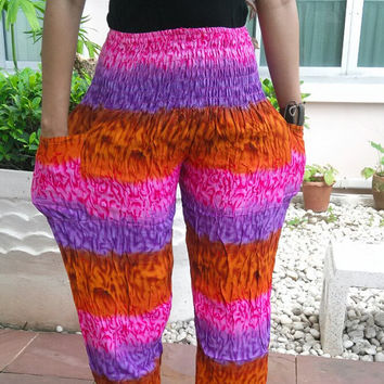 Pink Mixed Color High Waist Hippies Pants Beggy Harem Printed Beach Hippie Rayon pants Gypsy Thai Clothing Women Tribal Plus Size Dress
