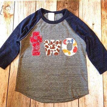 Farm barn birthday shirt Eco Heathered navy grey Boys 2nd second two Birthday 2 year old Birthday sports raglan cow print hide bandana horse