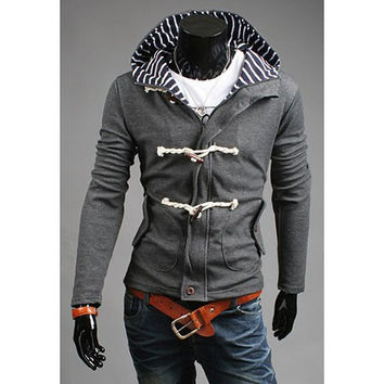 Striped Hood Long Sleeve Button Designed Coat
