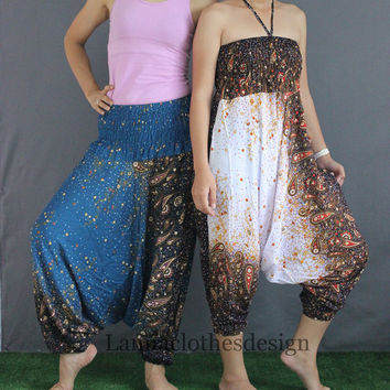 Women Pants  Aqua 2 in 1 Jumpsuit Harem Yoga Boho Pants Flowers printed multi colors Trouser Aladdin pants Baggy pants Genie pants .