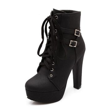 Winter Ankle Boots Buckle Lace Up with Thick High Heels