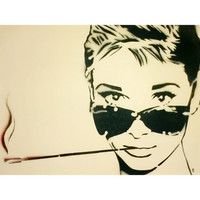 SMOKIN AUDREY 17 x 21 Framed Audrey Hepburn and Her Ciggy Original Painting on Acid Free Paper Graffiti and Pop Art Inspired Portrait