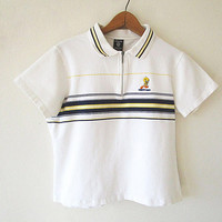Wms Vintage '96 TWEETY BIRD Looney Tunes Warner Bros Striped Quarter Zip Babydoll Polo Shirt Sz M/L