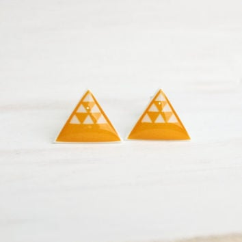 Bright Yellow Saffron Desert Dune Triangle Stud Earrings - Hypoallergenic Surgical Stainless Steel Posts - Geometric Jewelry